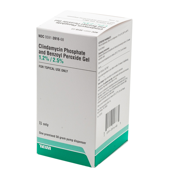 RX ITEM-CLINDAMYCIN-BENZOYL 1.2%-2.5% GEL 50GM  by Teva Pharma REFRIGERATED